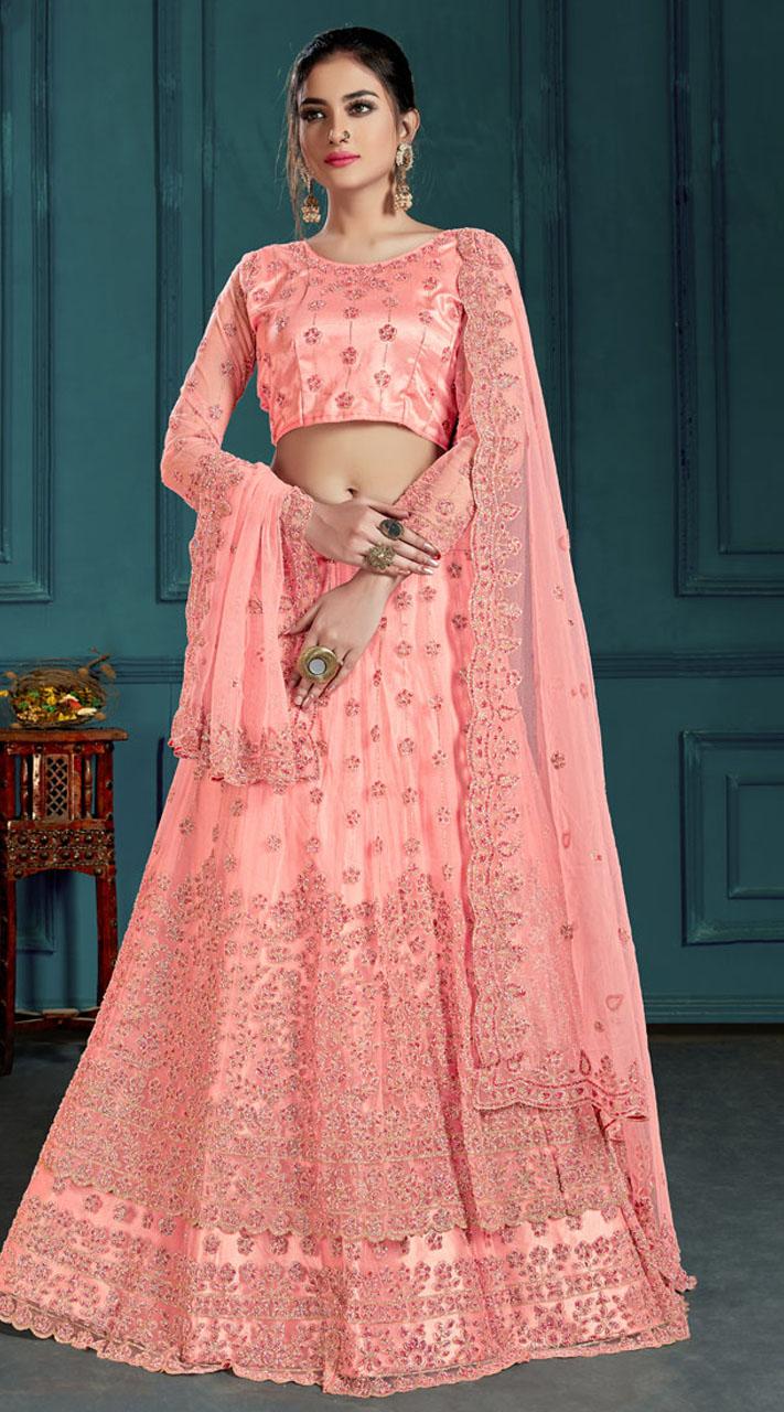 Pink Bridal Lehenga Net Choli Fabric SURZK2659915002