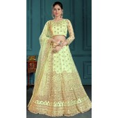 Green Bridal Lehenga Net Choli Fabric SURZK2659915003