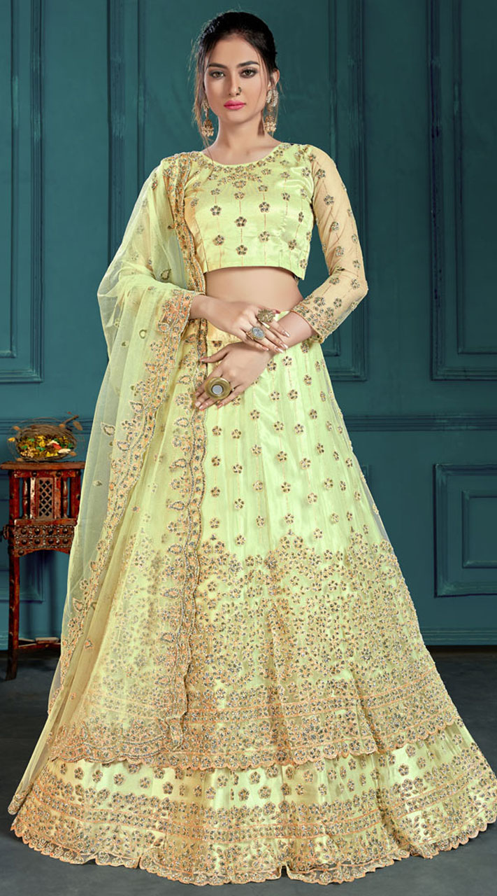Green Bridal Lehenga Net Choli Fabric SURZK2659915003