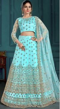 Turquoise Bridal Lehenga Net Choli Fabric SURZK2659915004