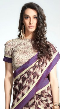 Purple Handloom Silk Printed Saree styk5lyf20211405