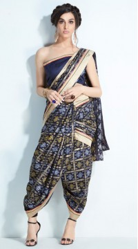 Navy Blue Handloom Silk Printed Saree styk5lyf20211419
