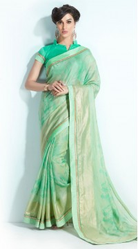 Green Handloom Silk Printed Saree styk5lyf20211422