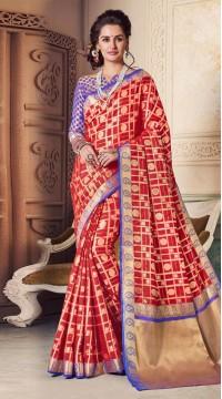 Red Banarasi Silk Jacquard Saree styk5lyf20211468