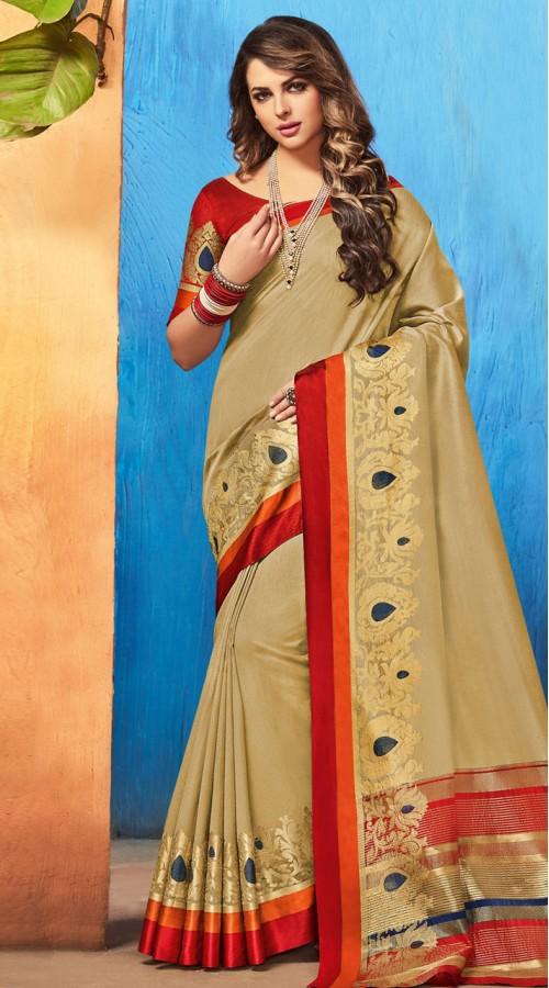 Beige Banarasi Silk Jacquard Saree styk5lyf20211594