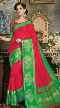 Red Art Silk Jacquard Saree styk5lyf20211698