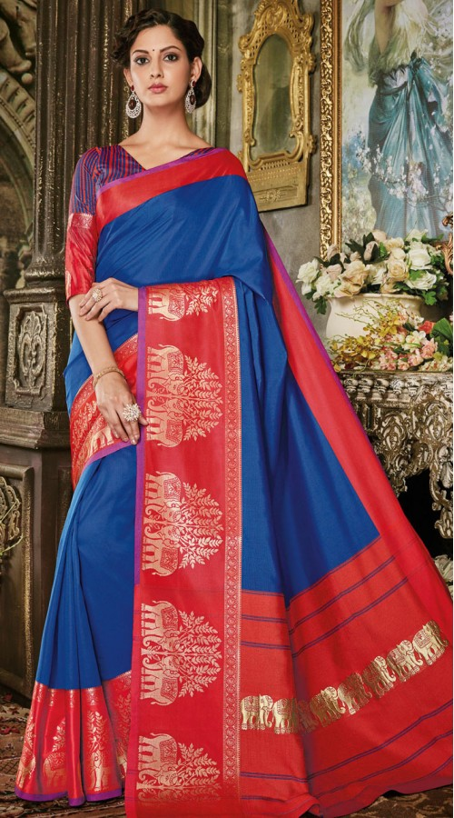 Blue Art Silk Jacquard Saree styk5lyf20211699