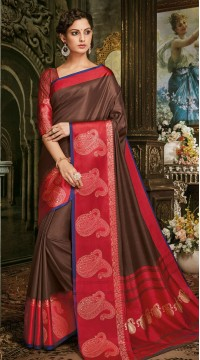 Brown Art Silk Jacquard Saree styk5lyf20211701