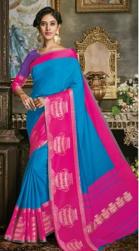 Blue Art Silk Jacquard Saree styk5lyf20211703