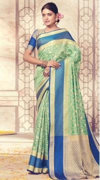 Turquoise Banarasi Silk Jacquard Saree styk5lyf20211732