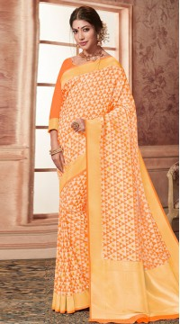 Orange Banarasi Silk Jacquard Saree styk5lyf20211781
