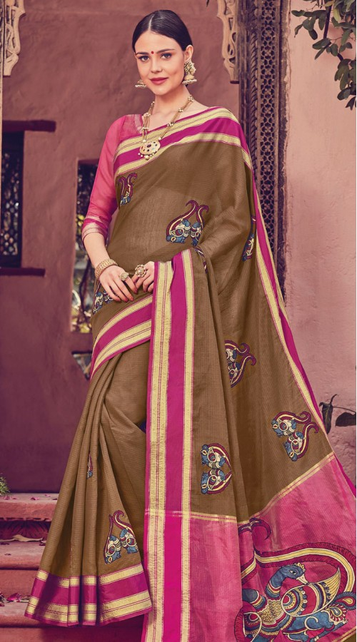 Brown Art Silk Printed Saree styk5lyf20211951