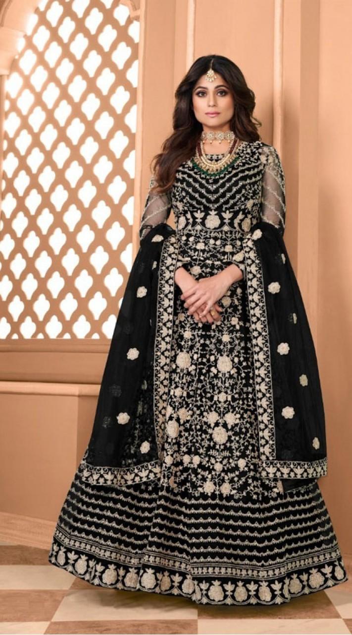 Designer Soft Net Party Wear Anarkali Suit in Black color RT400120710