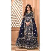 Designer Soft Net Party Wear Anarkali Suit in Navy Blue color RT400120711