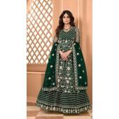 Designer Soft Net Party Wear Anarkali Suit in Green color RT400120712
