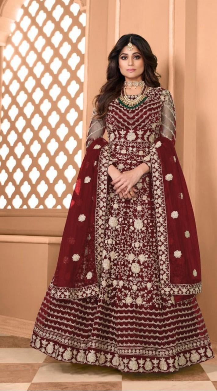 Designer Soft Net Party Wear Anarkali Suit in Maroon color RT400120713