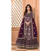 Designer Soft Net Party Wear Anarkali Suit in Wine color RT400120714
