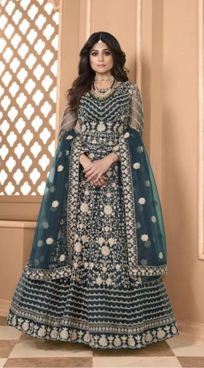 Designer Soft Net Party Wear Anarkali Suit in Aqua Blue color RT400120715