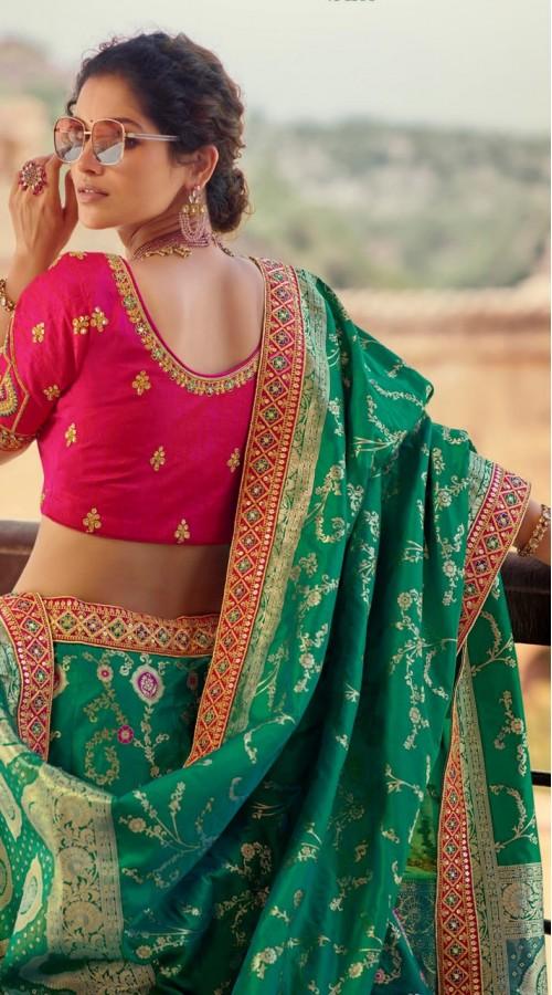 KMPAA1103 Multi color Pure Silk Heavy Embroidery Lehenga choli