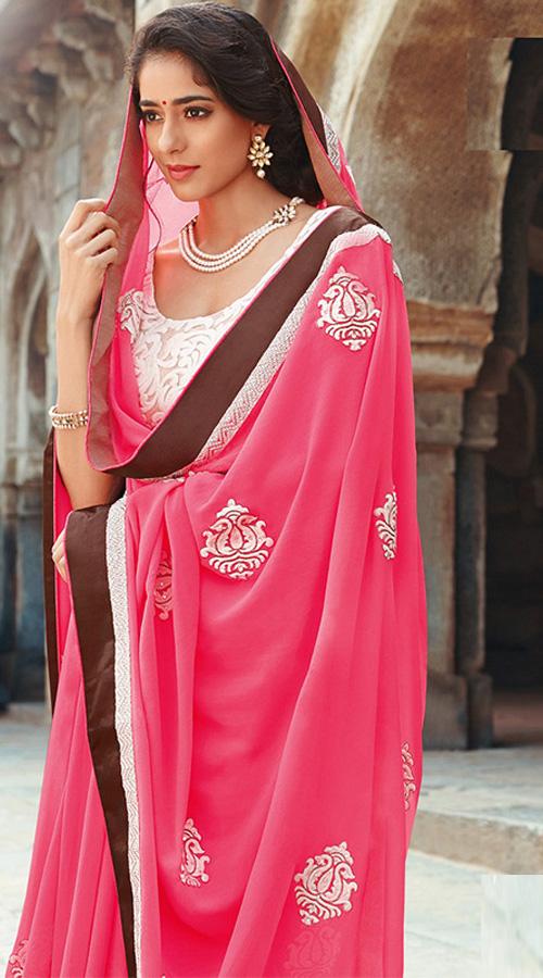 KIKMPLJ3443 Pink Color Indian Georgette Saree