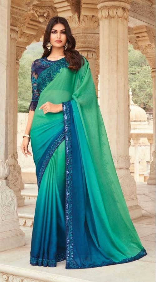 KEKIMPSW804 Green and Blue Color Silk saree