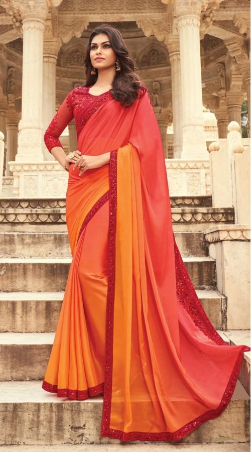 KEKIMPSW805 red and orange Color Silk saree