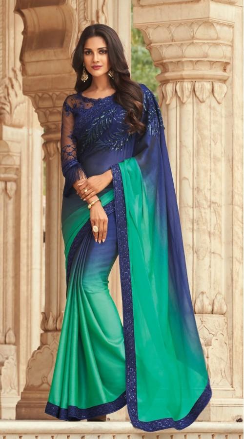 KEKIMPSW806 Blue and ocean green Color Silk saree