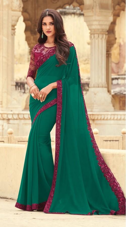 KEKIMPSW807 Green Color with purple border Silk saree