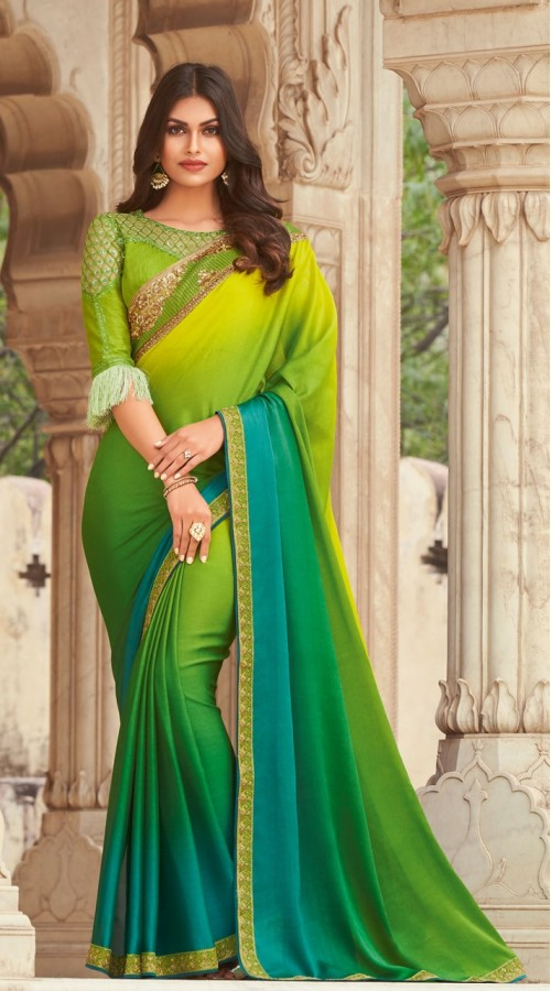KEKIMPSW810 Parrot green and blue shaded Color Silk saree