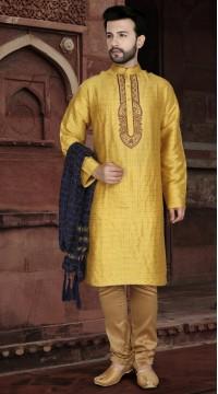 KSROTLK-34001 Traditional Indian Wear Long Kurta made from Jacquard Silk and Cotton Pant