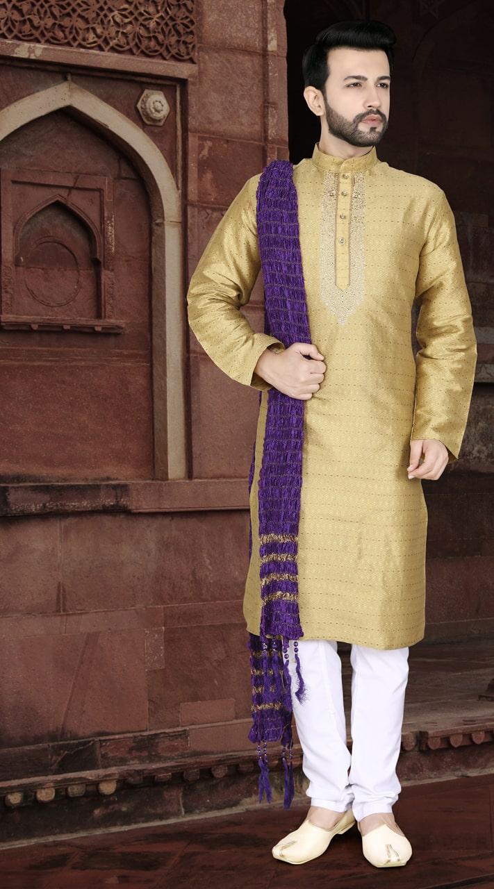 KSROTLK-34002 Traditional Indian Wear Long Kurta made from Jacquard Silk and Cotton Pant