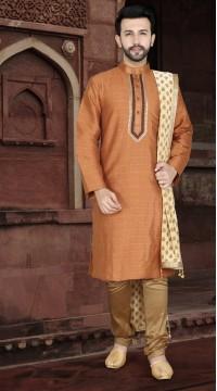 KSROTLK-34003 Traditional Indian Wear Long Kurta made from Jacquard Silk and Cotton Pant