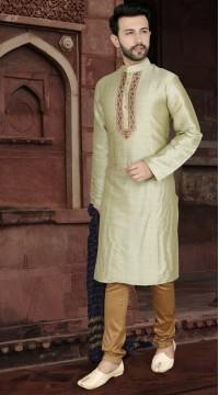 KSROTLK-34006 Traditional Indian Wear Long Kurta made from Jacquard Silk and Cotton Pant