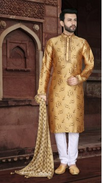 KSROTLK-35001 Traditional Indian Wear Long Kurta made from Jacquard Silk and Cotton Pant