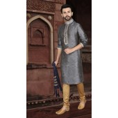 KSROTLK-35002 Traditional Indian Wear Long Kurta made from Jacquard Silk and Cotton Pant