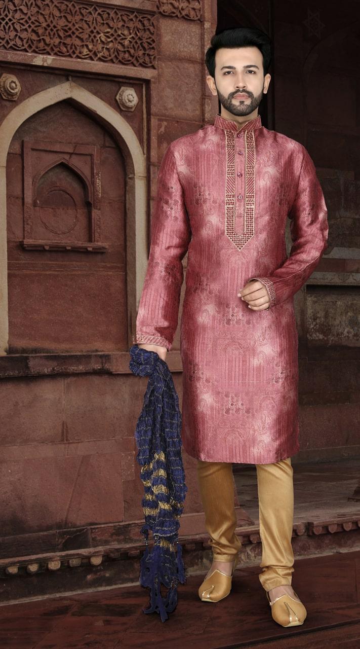 KSROTLK-35003 Traditional Indian Wear Long Kurta made from Jacquard Silk and Cotton Pant