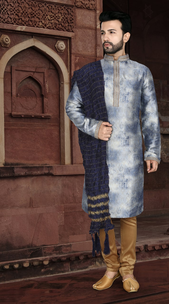 KSROTLK-35004 Traditional Indian Wear Long Kurta made from Jacquard Silk and Cotton Pant