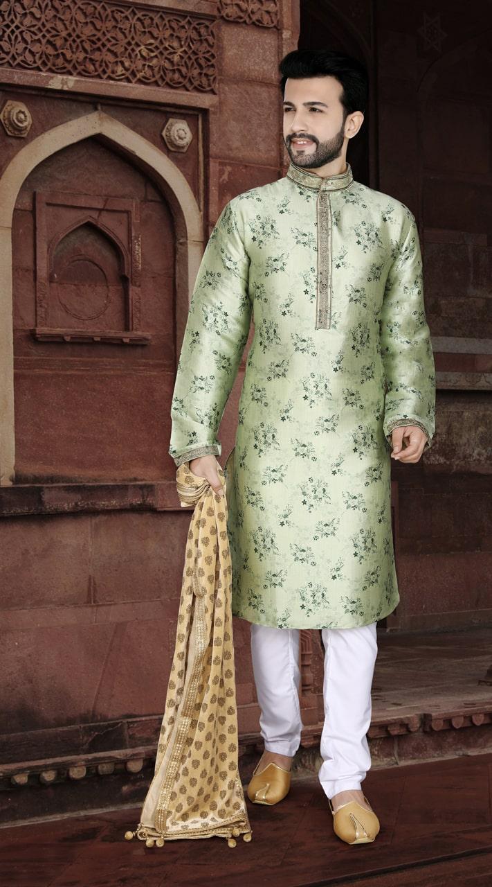 KSROTLK-35005 Traditional Indian Wear Long Kurta made from Jacquard Silk and Cotton Pant