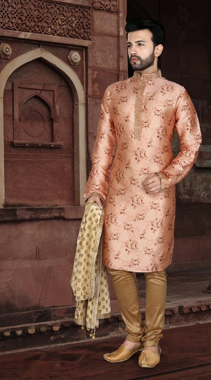 KSROTLK-35006 Traditional Indian Wear Long Kurta made from Jacquard Silk and Cotton Pant
