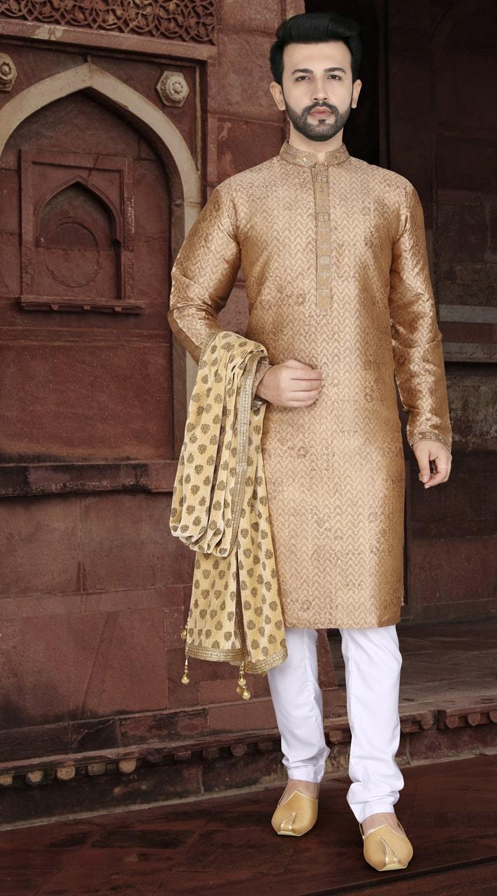 KSROTLK-35007 Traditional Indian Wear Long Kurta made from Jacquard Silk and Cotton Pant
