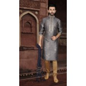 KSROTLK-35008 Traditional Indian Wear Long Kurta made from Jacquard Silk and Cotton Pant
