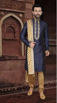 KSROTLK-35009 Traditional Indian Wear Long Kurta made from Jacquard Silk and Cotton Pant