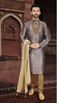 KSROTLK-36001 Traditional Indian Wear Long Kurta made from Jacquard Silk and Cotton Pant