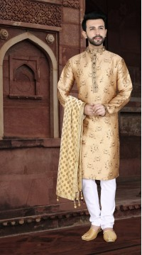 KSROTLK-36002 Traditional Indian Wear Long Kurta made from Jacquard Silk and Cotton Pant