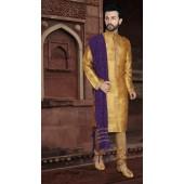 KSROTLK-36003 Traditional Indian Wear Long Kurta made from Jacquard Silk and Cotton Pant