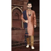 KSROTLK-36004 Traditional Indian Wear Long Kurta made from Jacquard Silk and Cotton Pant