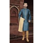 KSROTLK-36005 Traditional Indian Wear Long Kurta made from Jacquard Silk and Cotton Pant