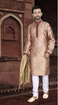 KSROTLK-36006 Traditional Indian Wear Long Kurta made from Jacquard Silk and Cotton Pant