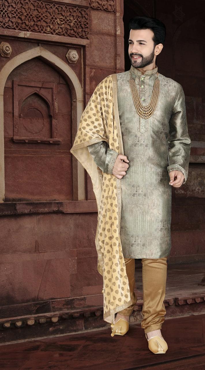 KSROTLK-36007 Traditional Indian Wear Long Kurta made from Jacquard Silk and Cotton Pant