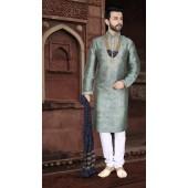 KSROTLK-36008 Traditional Indian Wear Long Kurta made from Jacquard Silk and Cotton Pant